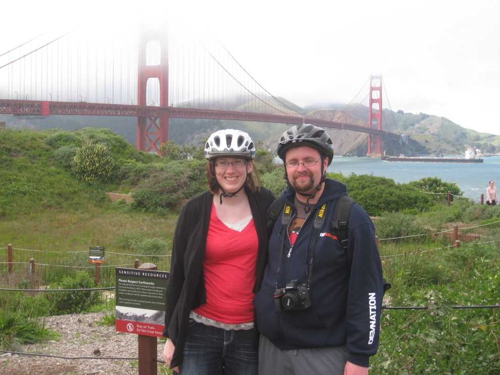 Patrick and Jackie after biking over the Golden Gate Bridge in San Francisco